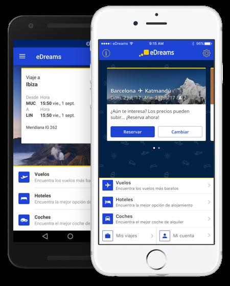 La aplicación móvil eDreams en dos teléfonos, un iPhone y un Android.